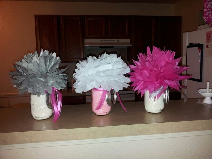 diy tissue pom pom centerpieces with mason jars made by me  u0026 sarah