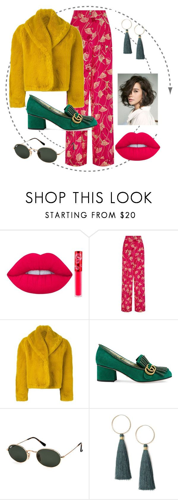 """bright"" by emilyhegland ❤ liked on Polyvore featuring Lime Crime, Valentino, Jean-Paul Gaultier, Gucci, Ray-Ban and Miss Selfridge"