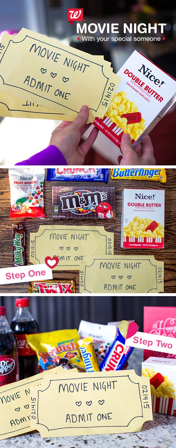 "Surprise your Valentine with a blockbuster movie night! 1) Grab your special someone's favorite flick snacks – and be sure to include Nice! Double Butter Microwave Popcorn for that movie-theatre vibe! 2) Get crafty with construction paper and a black marker by making ""tickets"" to feature a cute, unique sentiment. 3) Pick the best show for your movie night, and expect your date to be thrilled with delight!"