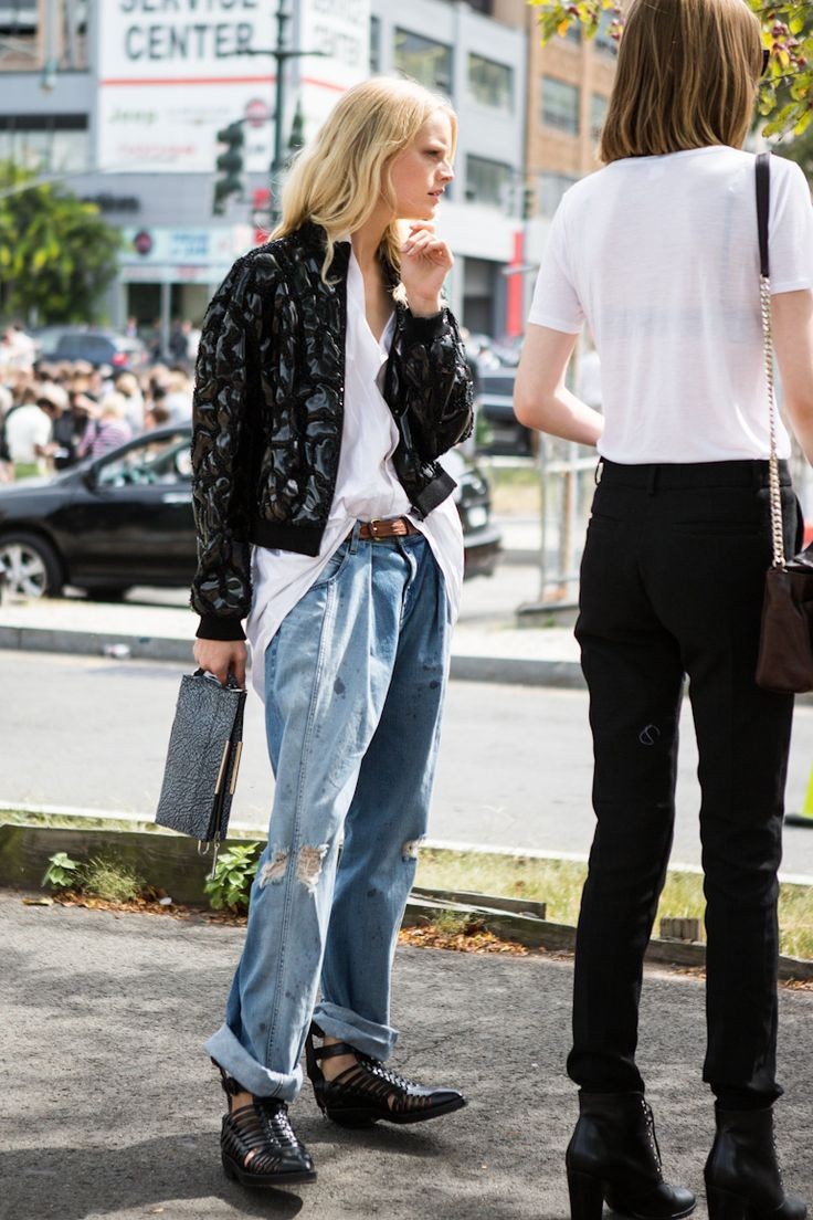 Street Style: Borrowed from the boys distressed denim.