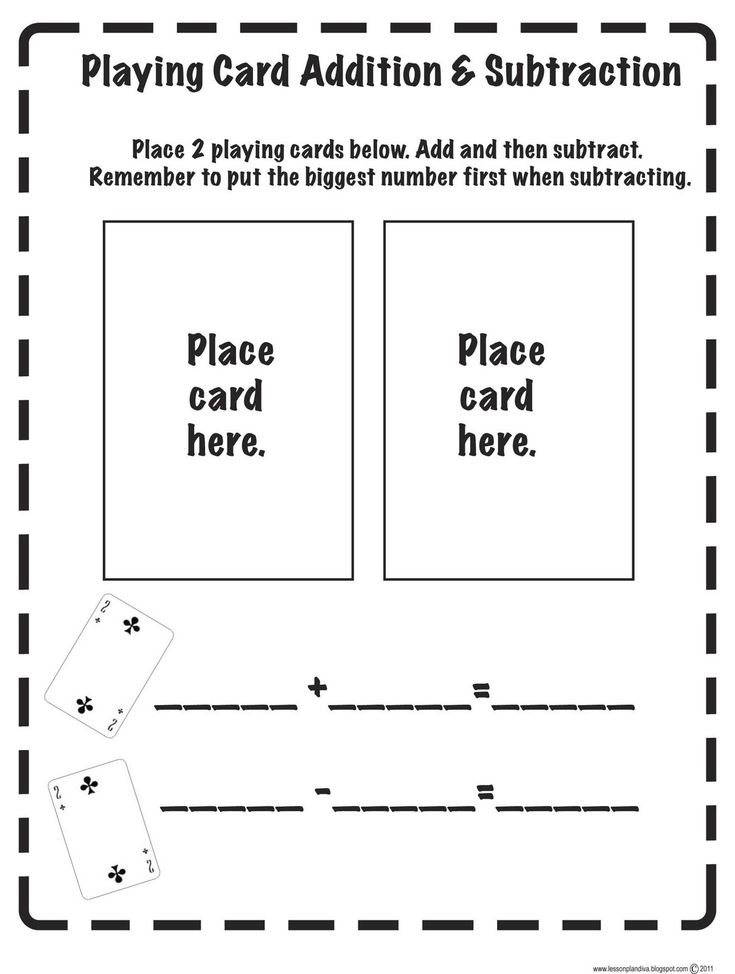 Great ideaMath Games, Math Centers, Cards Math, Addition And Subtraction, Playing Cards, Cards Games, Addition Subtraction, Cards Addition, Plays Cards