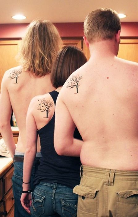 Matching family tree tattoos                                                                                                                                                                                 More