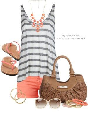 have the shorts, the tank, the necklace, the bag...just have to put them together!  (versions of the items - not literal) :)