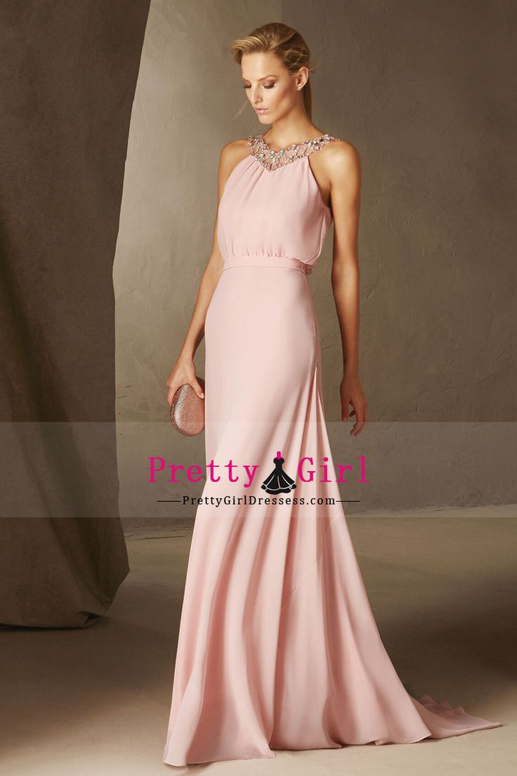 2017 Prom Dresses A Line V Neck Chiffon With Beading Sweep Train US$ 149.99 PGDPH1GHYD7 - PrettyGirlDressess.com for mobile