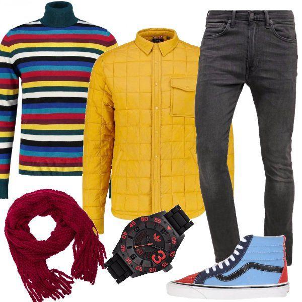 Per+una+generazione+under+35,+un+look+che+mette+in+mostra+il+carattere+e+il+fascino.+Ho+abbinato+jeans+skinny+a+maglione+Diesel+a+collo+alto,+con+fantasia+a+righe+e+a+splendido+piumino+leggero+mustard.+Ho+scelto+accessori+sempre+colorati,+come+le+sneakers+Vans+celeste+con+effetto+scamosciato,+in+fantasia+multicolore+e+applicazioni+a+contrasto,+la+sciarpa+rosso+vivo+e+l'orologio+Adidas+black+con+logo+e+numeri+colorati.
