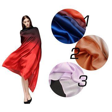 Women Satin Silk Gradient Colors Scarf Soft Long Beach Sunshade Towel Shawl