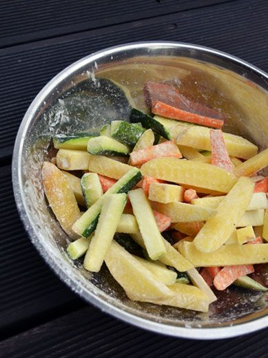 Oven roasted veggie fries. An easy way to get your kids eat some more veggies.