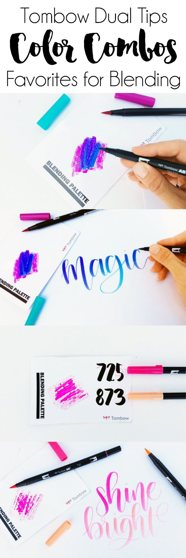 Blending Tombow Dual Tips: Favorite Color Combos. My three favorite color combinations for blending with the Tombow Dual Tip Brush Pens!
