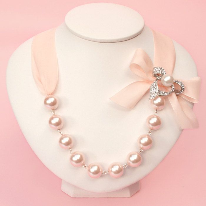Goregeous Pearl and Crystal Ribbon Necklace by spoiledpretty