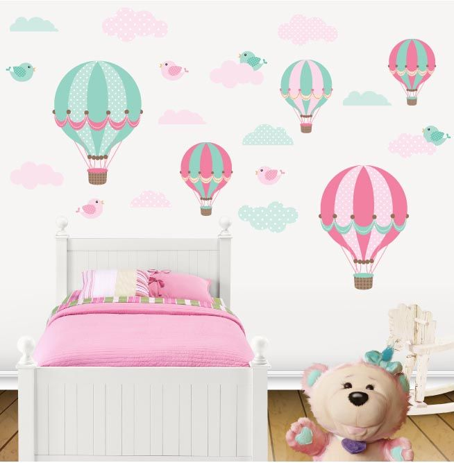 Kit de vinilo decorativo globos pajaritos y nubes for Vinilos para bebes baratos