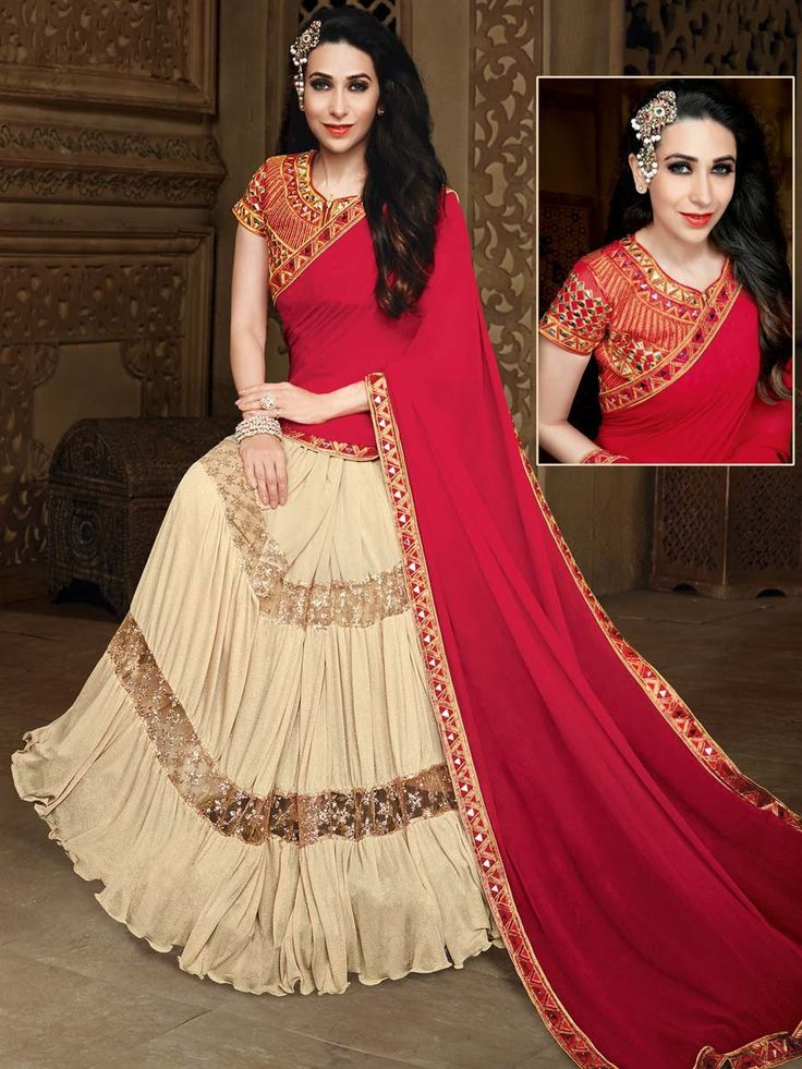 Red And Beige Saree speechless with your elegance. Item Code: SDH10121 http://www.bharatplaza.com/new-arrivals/sarees.html