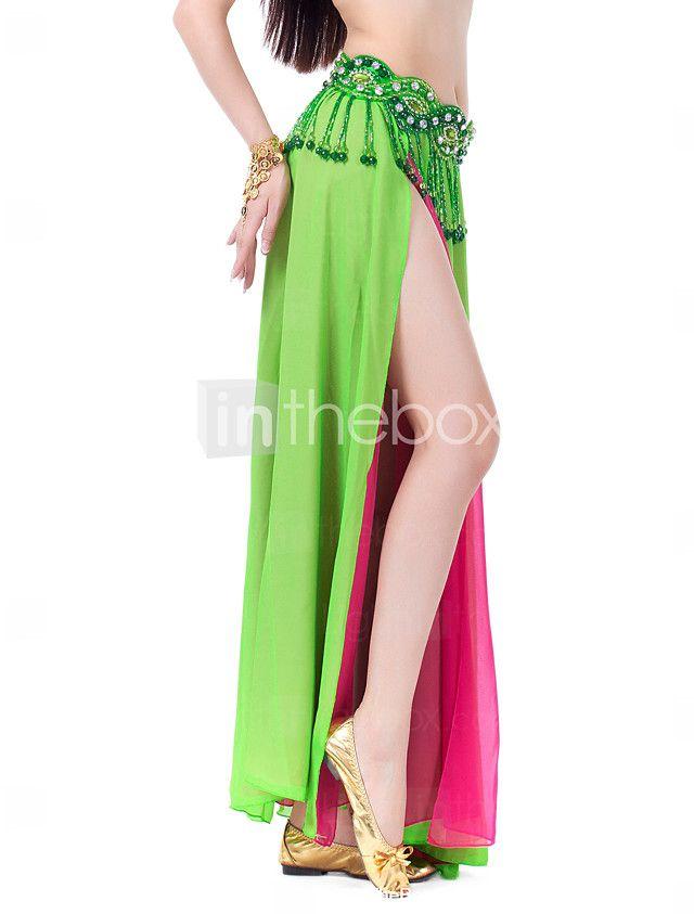 Faldas(Verde manzana / Morado / Rojo,Gasa,Danza del Vientre / Sala de Baile) -Danza del Vientre / Sala de Baile- paraMujerFrente dividida 2017 - $14.99