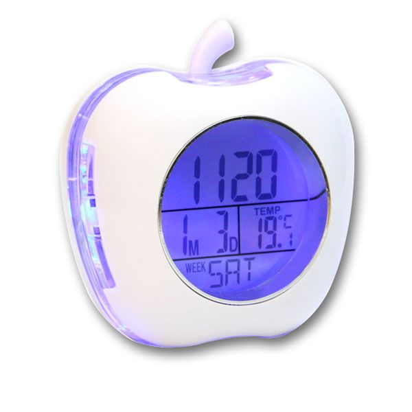Apple Shaped Talking Alarm Clock with Temperature and Calendar - White - Talking Clocks - MaxiAids  This sleek, attractive digital Apple Shaped Talking Alarm Clock is packed with features that everyone can enjoy and access. Press the Apple Stem and hear the time announced in a clear female voice, and set the hourly chime to have the time and temperature spoken aloud... #clocks #talkingclocks