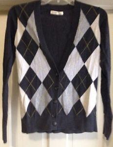 Old Nany Young Girls Cardigan Sz S/p Diamond Shape Pattern Black Multi Color