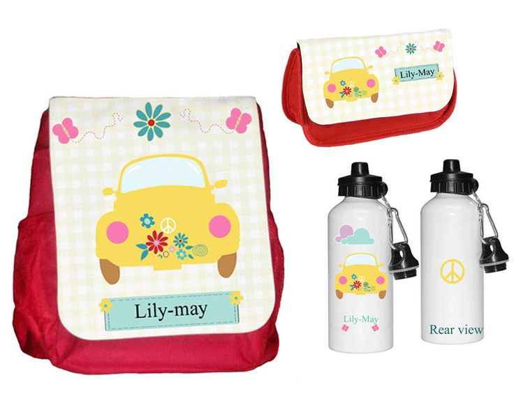 Personalised childs rucksack/backpack set,Personalized back to school, backpack, pencil case, waterbottle by cjcprint on Etsy
