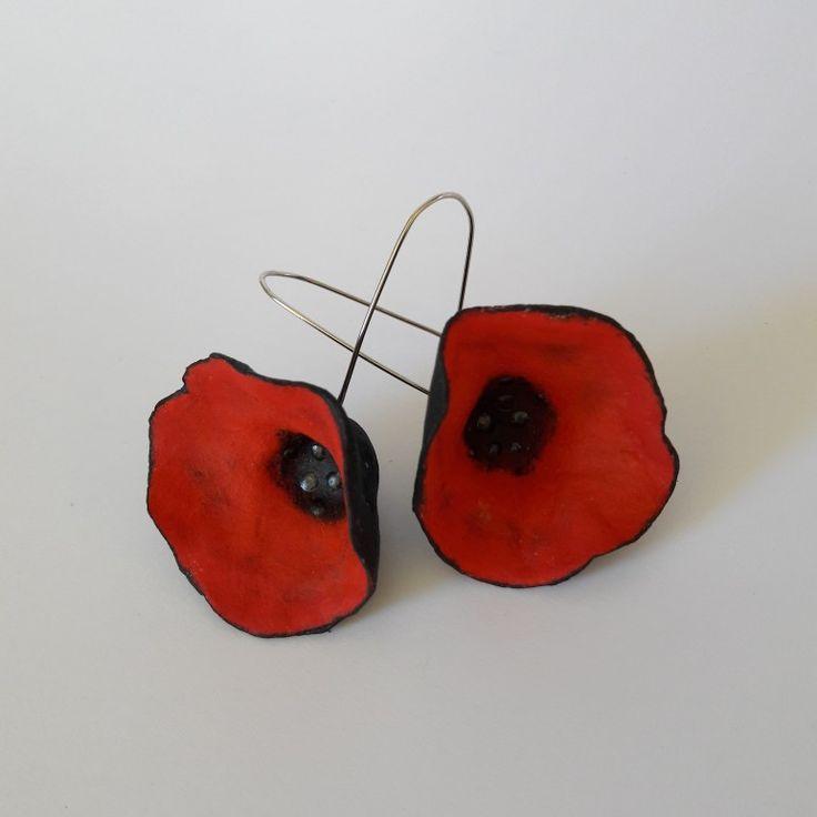 Paper mache flower earrings by Paint My Day by Niki!