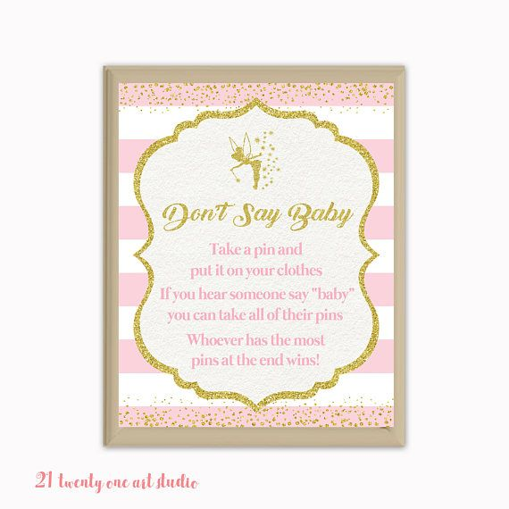Fairy Don't Say Baby Game Pink and Gold Baby Shower