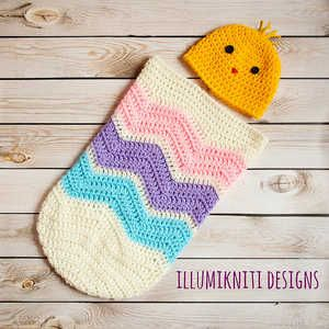 Baby Egg Cocoon Crochet Pattern Free : Easter Egg Chevron Cocoon and Baby Chick Set - Photography ...