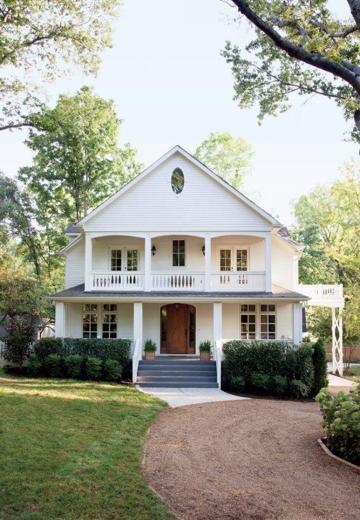 White Exterior Brown Door W Windows Accent Round Window Front Porch Upper Porch