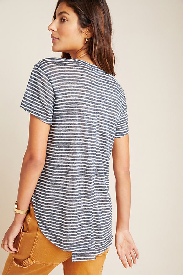 Leigh Linen Henley Tee by Wilt in Blue Size: L, Women's Tees at Anthropologie