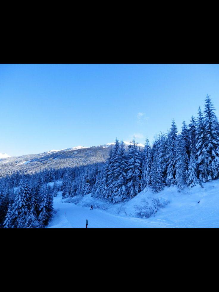 Whistler ski session, sunny clear skies