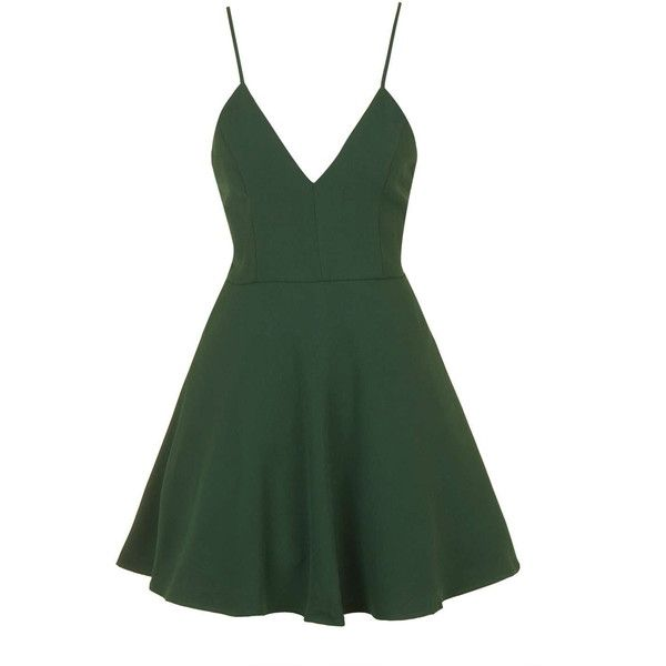 V-Neck Prom Dress by Glamorous Petites ($26) ❤ liked on Polyvore featuring dresses, short dresses, green, short green dress, v neck dress, short prom dresses, topshop dresses and mini dress