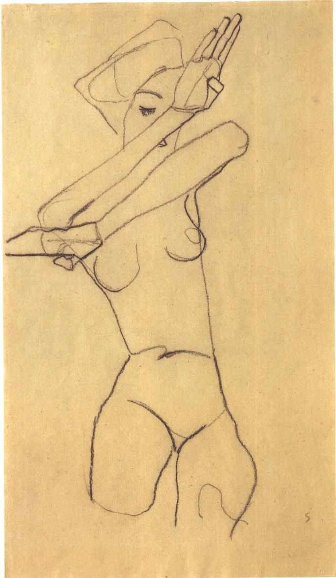 Figure Drawing by Egon Schiele: Figure Drawing, Sketch, Egon Shiele, Artist Egonschiele, Art Inspiration, Illustration, Egon Schiele Drawing, 1890 1918