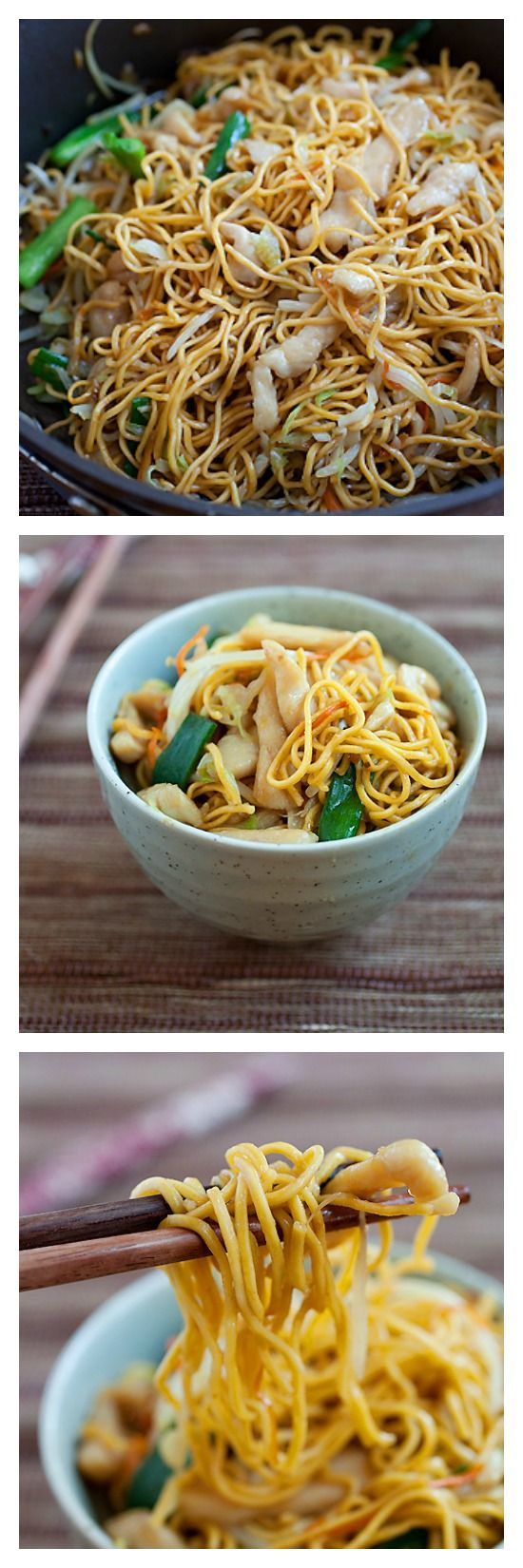 Crazy Delicious Chicken Chow Mein. Try this easy 15-minute recipe and you'll never need another Chinese takeout | Follow @rasamalaysia now!