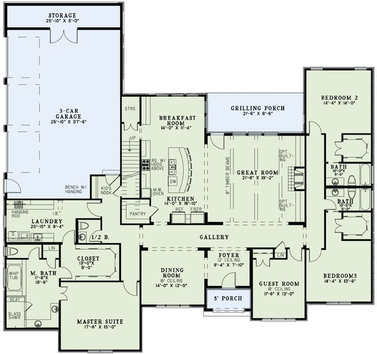 First Floor Plan of Craftsman   European   House Plan 82163