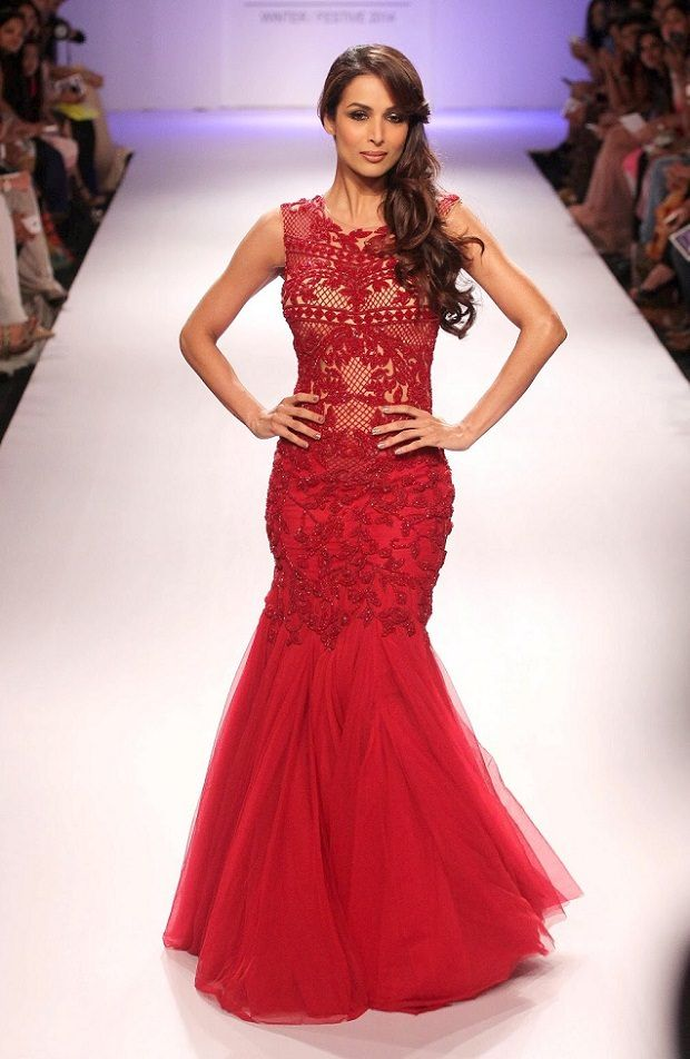 Malaika Arora's Red Wedding Mermaid Style/The Trumpet Gown From Lakme Fashion Week
