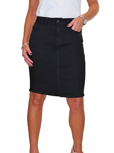 de6695854f icecoolfashion Womens Stretch Denim Above Knee Jeans Skirt Smooth Wash  Black 10-20 (14)