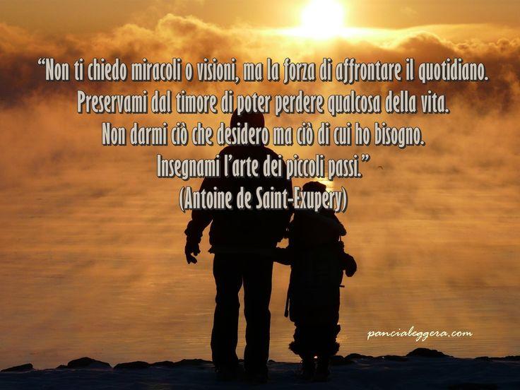 """""""Non ti chiedo miracoli o visioni, ma la forza di affrontare il quotidiano. Preservami dal timore di poter perdere qualcosa della vita. Non darmi ciò che desidero ma ciò di cui ho bisogno. Insegnami l'arte dei piccoli passi."""" - Antoine de Saint-Exupery #quote"""
