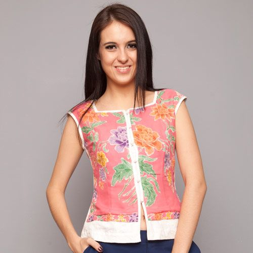 Pink Batik Sleeveless Blouse