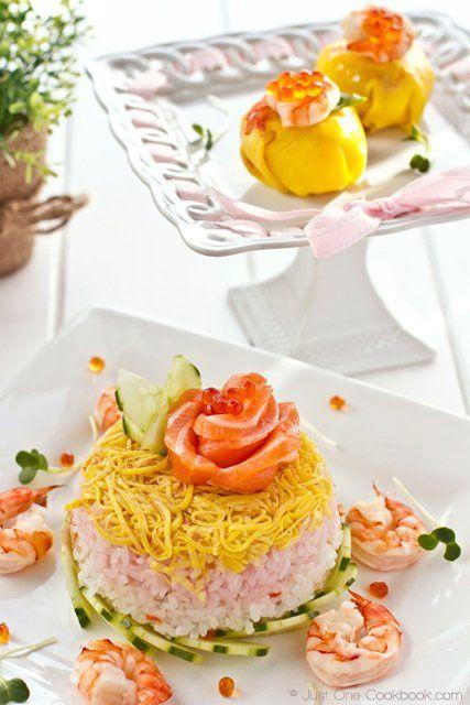 Chirashi Sushi Cake and Temari Sushi