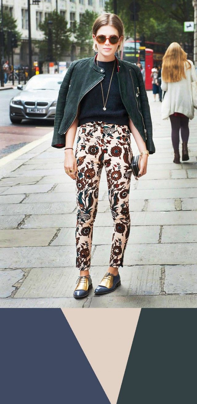 Hate these pants with a passion but like the colour swatch   9 Foolproof Color Combinations to Try Now via @WhoWhatWear