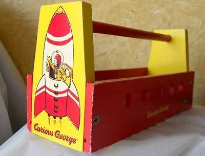 Curious George In A Rocketship Children S Wooden Toolbox Schylling