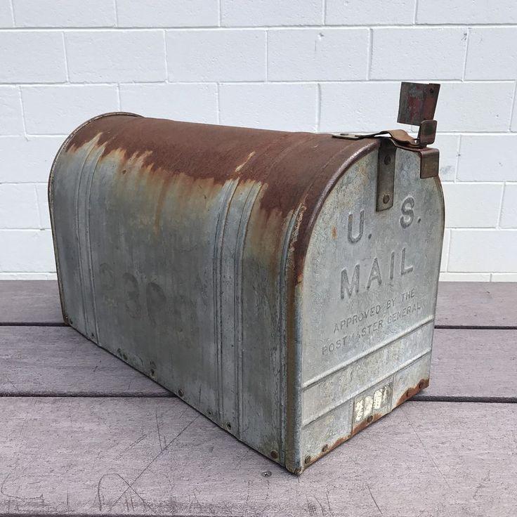 Vtg LARGE US Mail Galvanized Steel Rustic Metal Mailbox Old Rural Farm Post Box | eBay