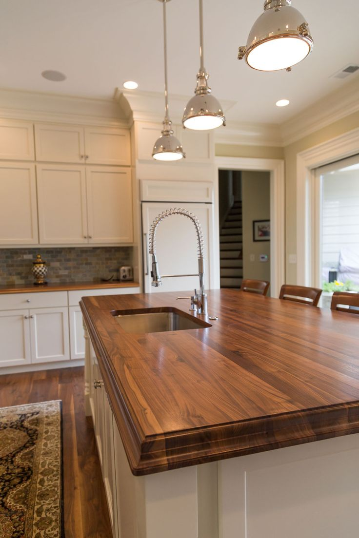 White Kitchen With Walnut Butcher Block Countertop : Species: Walnut Construction Style: Edge Grain Thickness: 2-1/4