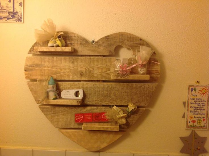 Wandbord Hart van pallethout