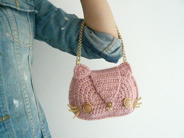 Baby Pink Kitty Cat Crocheted Purse with Gold by CoquelicotSalon