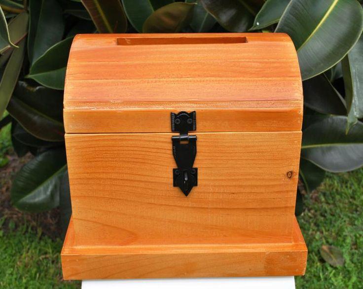 Wedding  Wooden Treasure Chest - Stained  Timber - WeddingWish.com.au