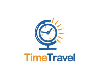 Time Travel Logo design - Logo design of a desk globe shaped like a clock with the sun behind. Price $250.00