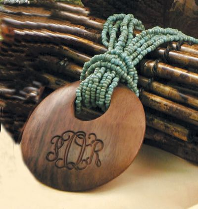 Monogrammed Wood Jewelry ~ I love these!!