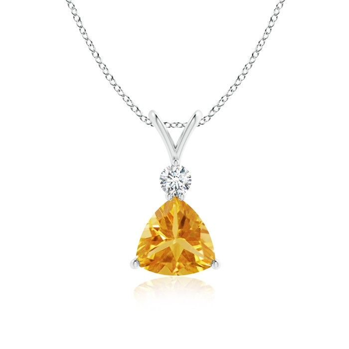 Angara Oval Citrine Solitaire Pendant with Diamond Bale iVBdqL3dL