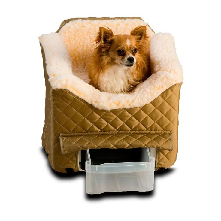 Snoozer Lookout II Pet Car Seat with Sherpa Lining - Large Khaki Quilt - 80013