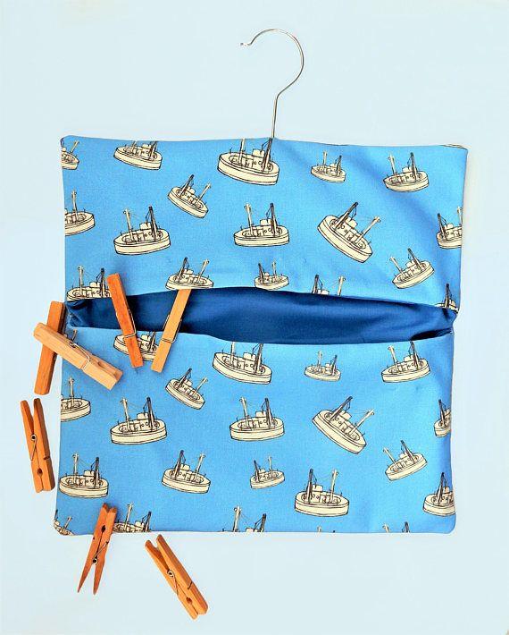Boat peg bag  nautical clothespin bag  laundry peg storage