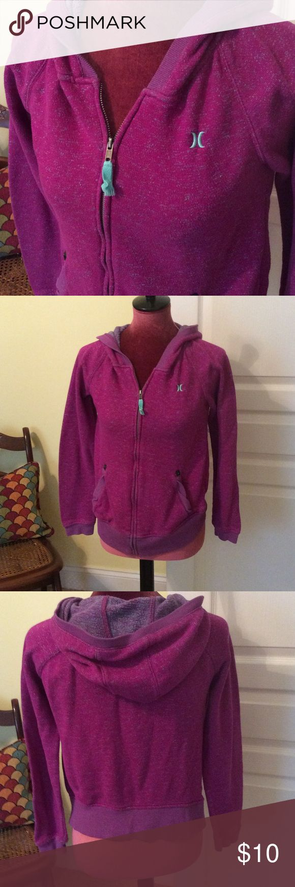 Hoodie Sweater 💕 Soft knit magenta and turquoise zip up hoodie by Hurley.  Front pockets and metal zipper. Runs small, cut for woman's body. Hurley Tops Sweatshirts & Hoodies