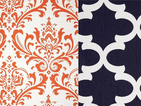 Reversible Duvet Cover Orange and Navy by OrangeBlossomBedding, $135.00