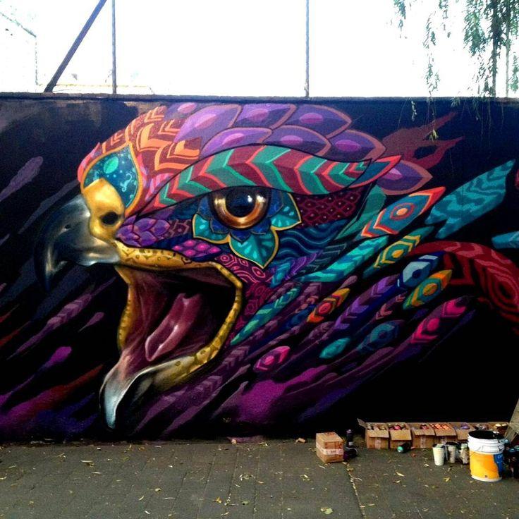 """HAWK'S CALL"" by @farid_rueda in Mexico City  #art   #streetart   #mural   #artist   #artwork   #nicestreetart   #wall   #graffiti   #streetartnews   #urbanart"