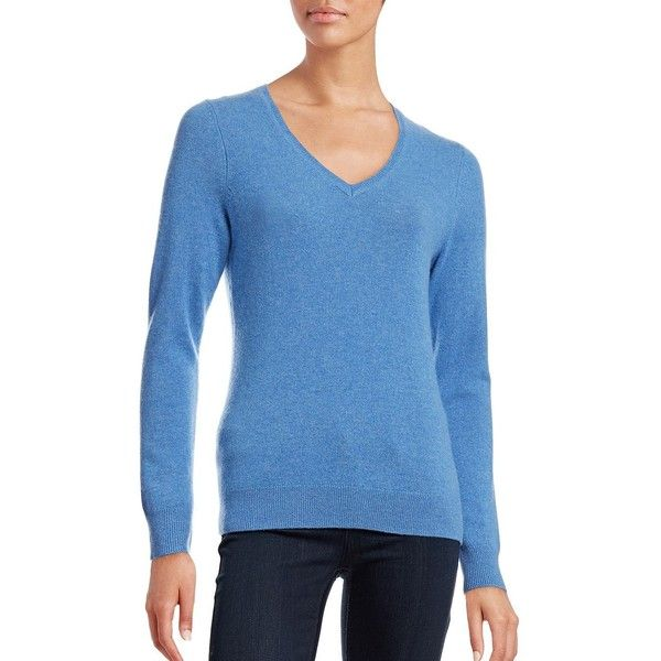 Lord & Taylor Women's V-Neck Cashmere Sweater ($30) ❤ liked on Polyvore featuring tops, sweaters, azure blue, pure cashmere sweaters, cashmere v neck sweater, wool cashmere sweater, v-neck tops and v neck sweater